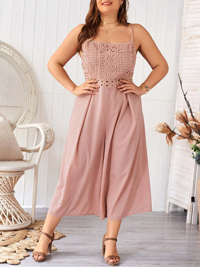Plus Size Casual Sling Lace Jumpsuit