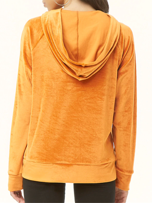Solid Color Straight Long Sleeve Loose Hooded Velvet Sweater