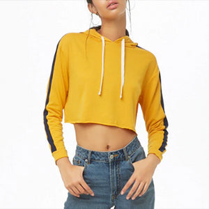 Sexy Contrast Stripe Short Cropped Navel Long Sleeve Hoodie