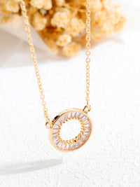Circle Set With Diamond Necklace Copper Plated Short Section