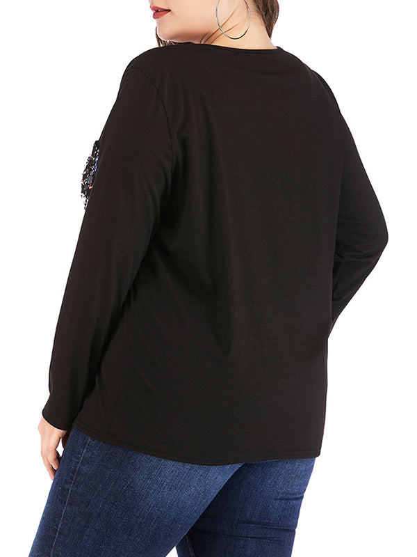 Plus Size Round Neck Pullover Two Pocket Sweater