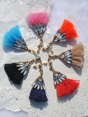 Tassel Earrings Silk Pendant With Long Diamond Earrings