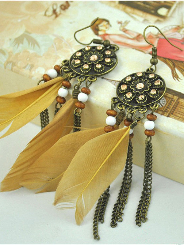 Bohemian Feather Earrings Vintage Tassel Earrings Rhinestones Bead Feather Earrings