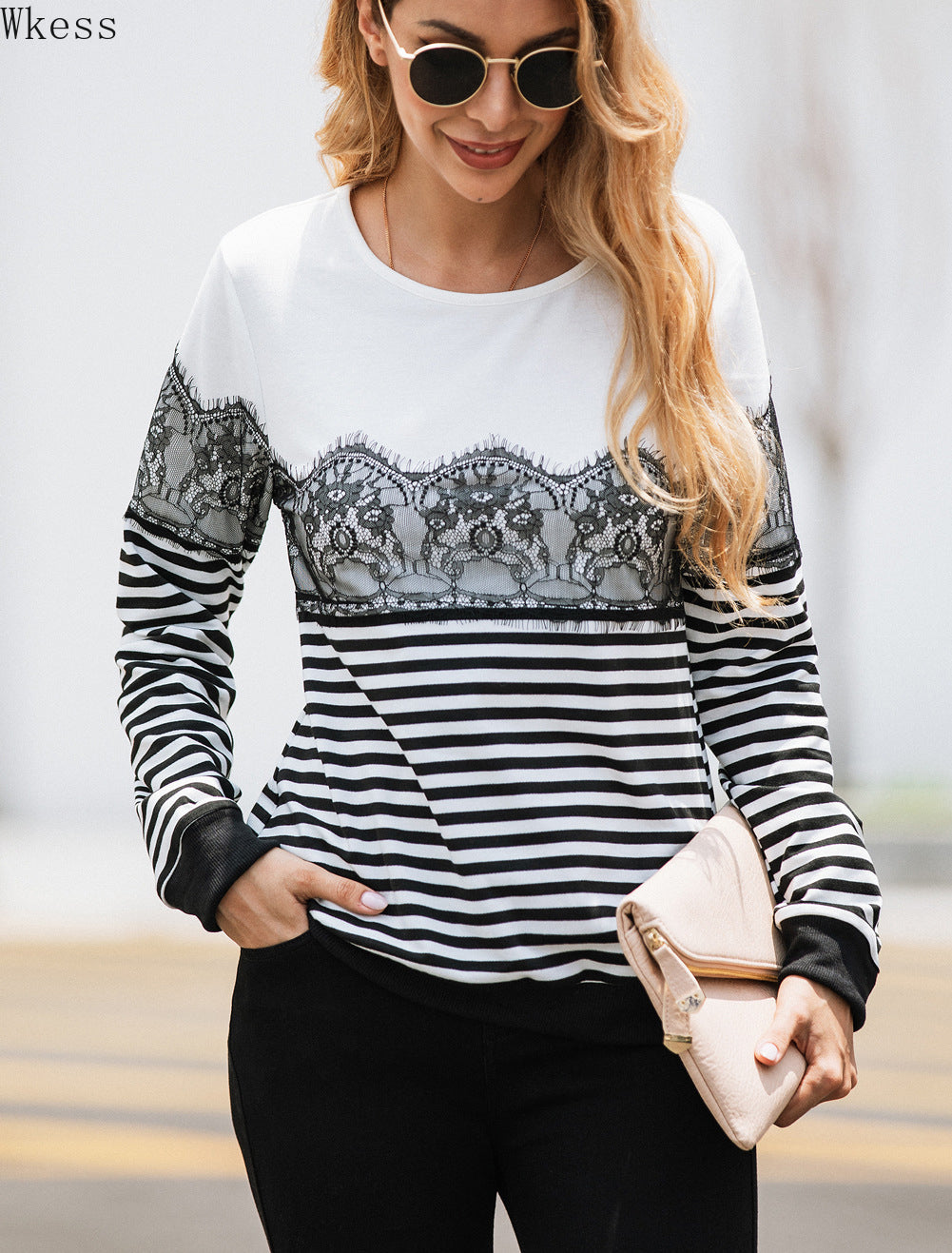 Fashion Striped Lace Long Sleeve Blouse Sweatshirt