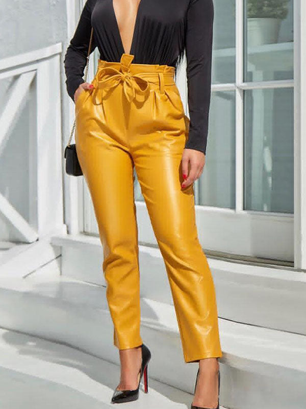 Slim High Waist Bright Leather Pants Feet Pants Spring Women