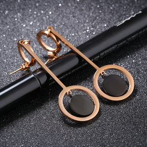 Exaggerated Personality Earrings Earrings Women Long Temperament Earrings Round Titanium Steel Simple Earrings
