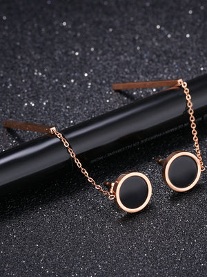 Petite Rose Gold Circle Hanging Black Dot Earrings