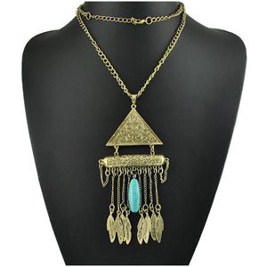 Autumn and Winter Sweater Chain Vintage Ethnic Wind Carved Leaves Tassel Necklace