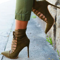 Solid Color Fashion Sexy Pointed Cross Straps Sexy High Heels Boots Four Seasons Shoes