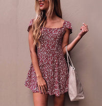 Small Floral Square Collar Open Back Dress