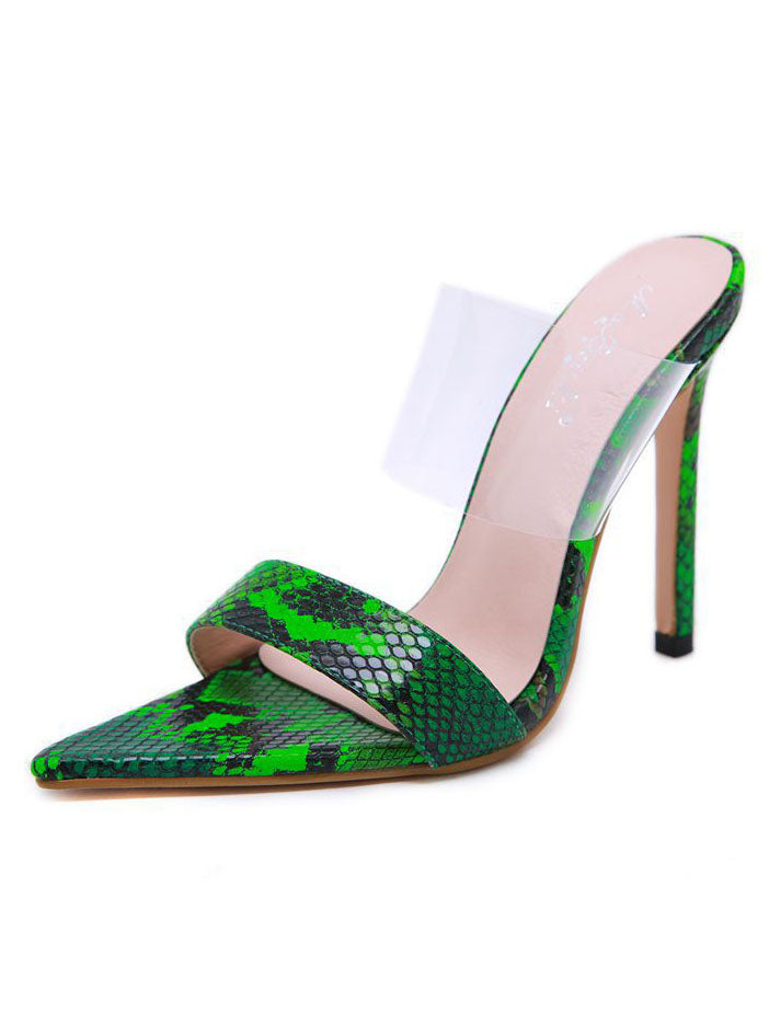 Sandals High Heel Ladies Sandals and Slippers Pointed Translucent Stiletto Heels