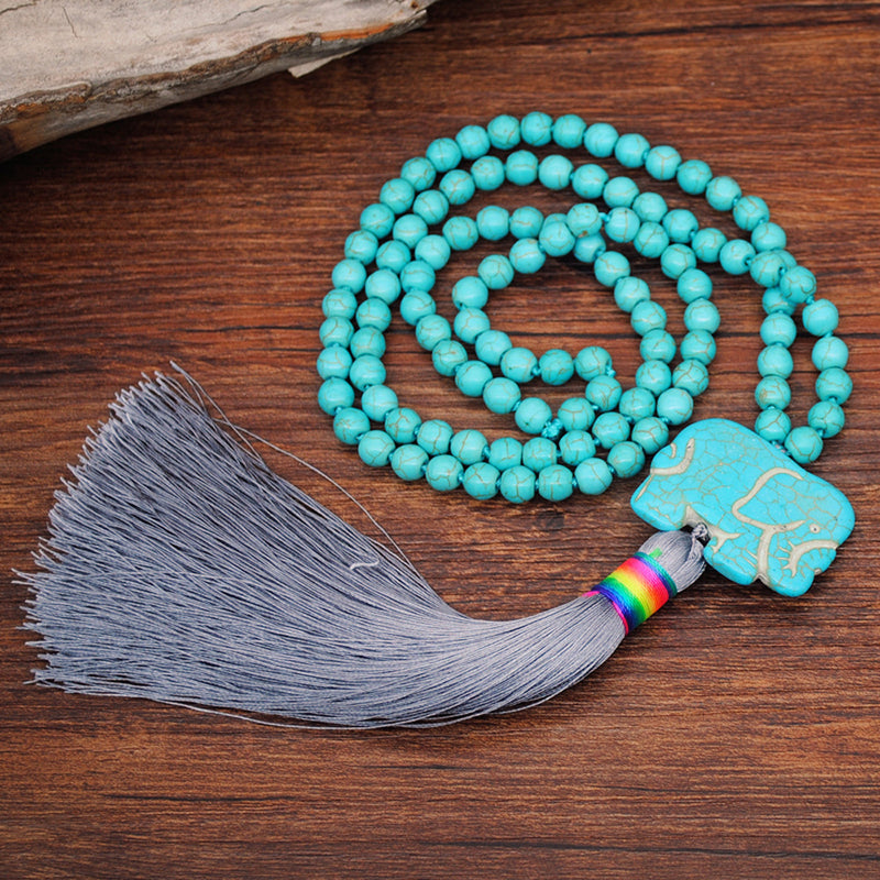 Hand Knotted Blue Turquoise Long Tassel Necklace Celebrity Wind Elephant Pendant