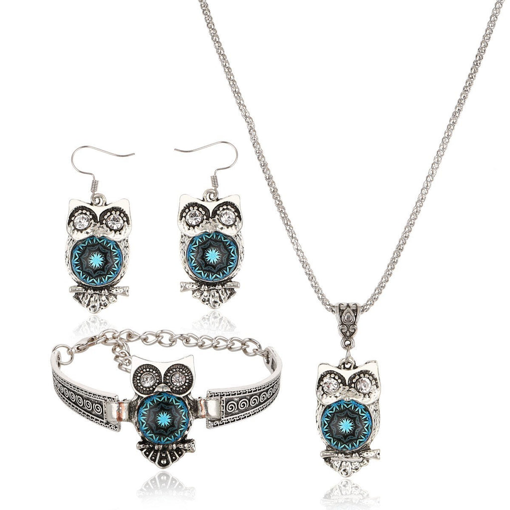 Fashion Three-piece Bracelet Earrings Necklace Owl Jewelry Set
