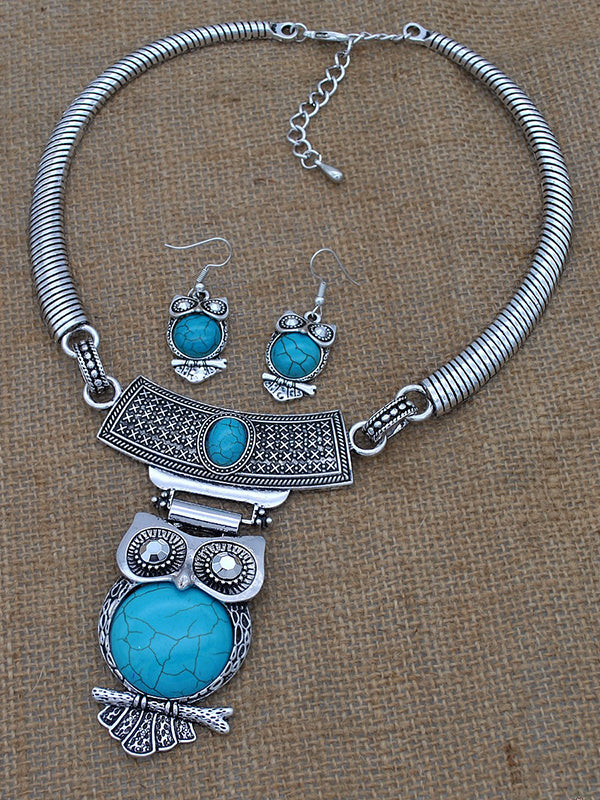 Ethnic Style Owl Turquoise Collar Earring Set