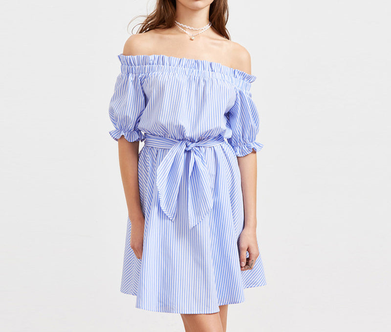 One-neck Collar Blue Striped Stitching Dress