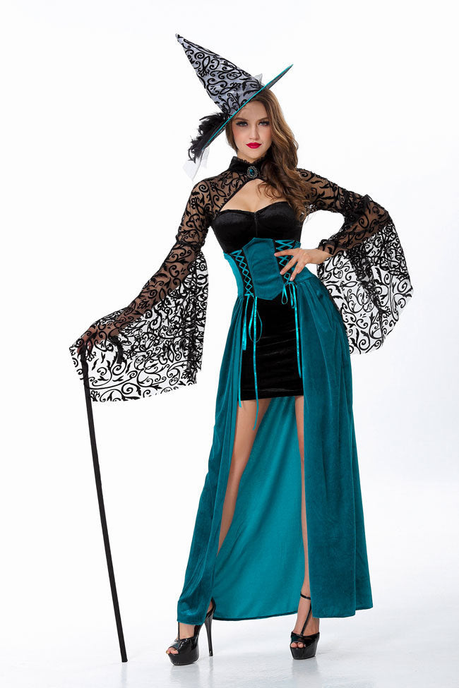 Halloween Adult Witch Costume Fairy Tales Female Sorcerer Slim Dress Nightclub Party Costume