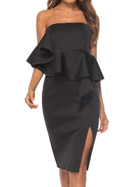 Ruffled Sexy Split Hip Dress