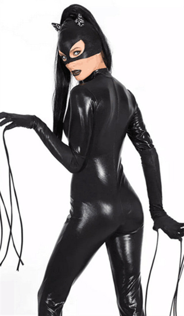 Nightclub Patent Leather Long-sleeved Cat Girl Siamese Clothes Fingers Hairy Bar Ds Stage Costumes Club Clothing