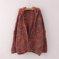 Knitwear Loose Large Size Color Flower Hooded Sweater