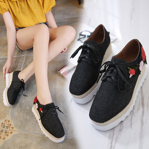 Summer Women's Shoes Thick-soled Tie Waterproof Platform Casual Shoes Embroidery Flower Square Head Single Shoes