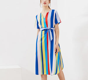 Printed V-neck Lace-up Short-sleeved Rainbow Dress