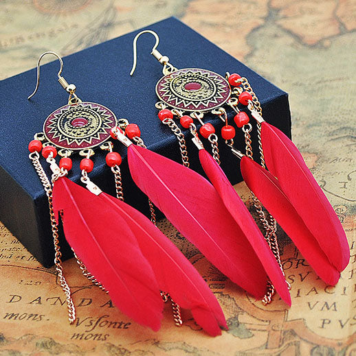 Baroque Painted Oil Color Feather Earrings Bohemian Painted Rice Beads Feather Tassel Earrings
