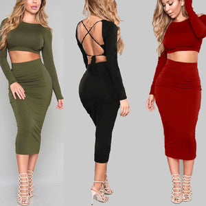 Long Sleeved Backless Slim Two Piece Dress