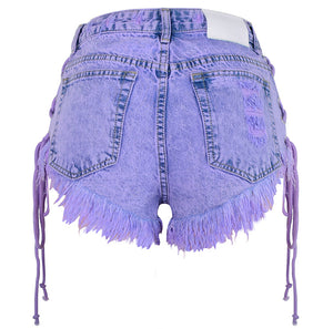 High-waisted Buckled Worn Bandage Denim Shorts