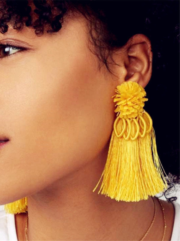 Flower Tassel Earrings Trend Street Shooting Inlaid Earrings