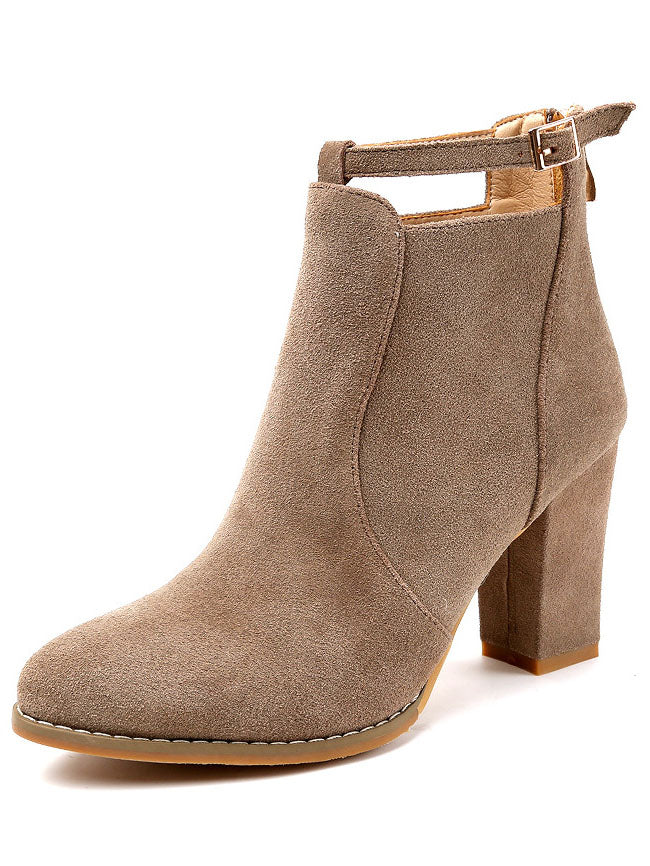 Autumn and Winter Booties Single Boots British Style Thick with High Heels Boots After Zipper Large Size Martin Boots