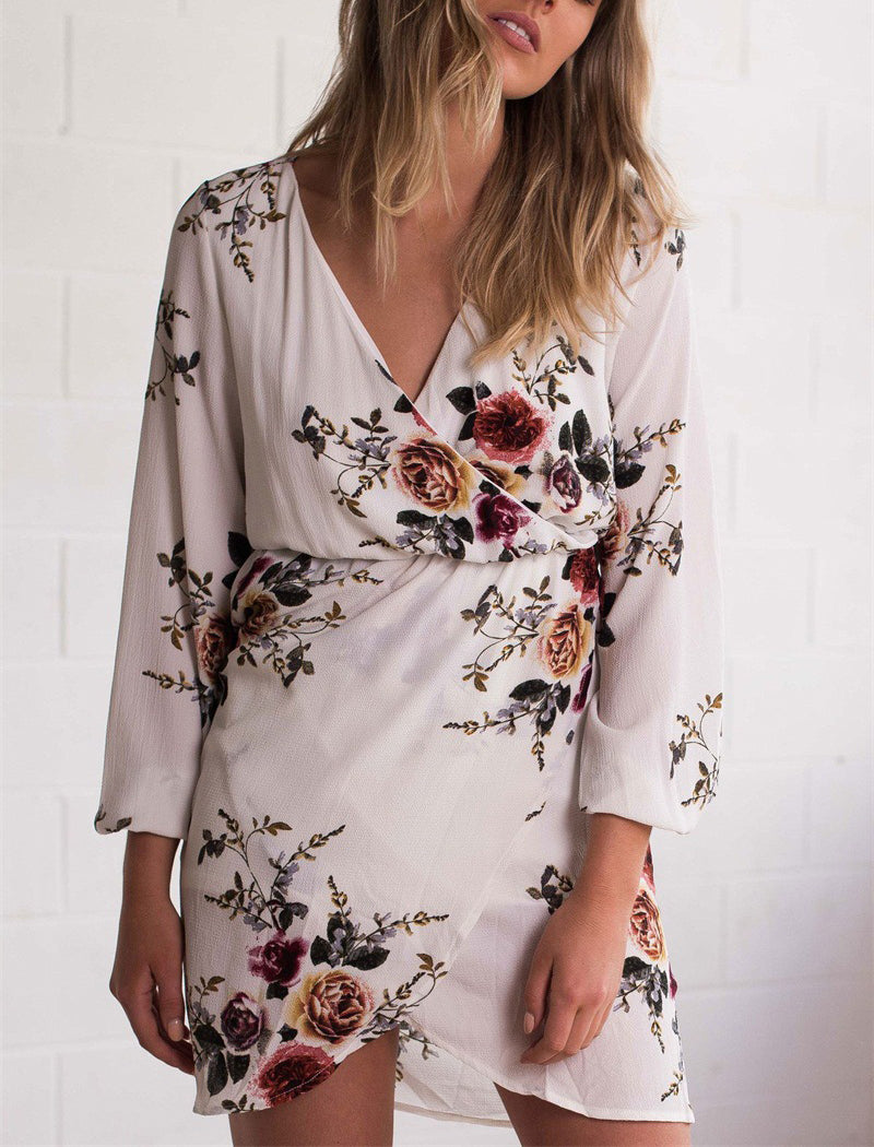 V-neck Long-sleeved Printed Chiffon Dress