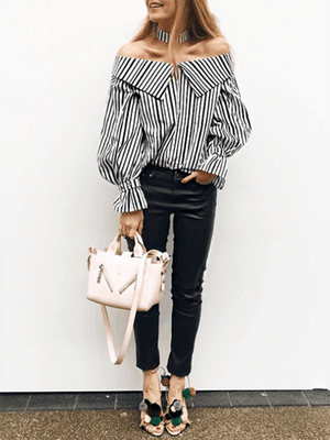 Sexy Word Collar Strapless Striped Long Sleeve Trumpet Sleeve Shirt