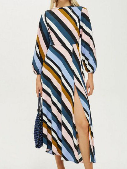 Color Printed Diagonal Stripe Dress