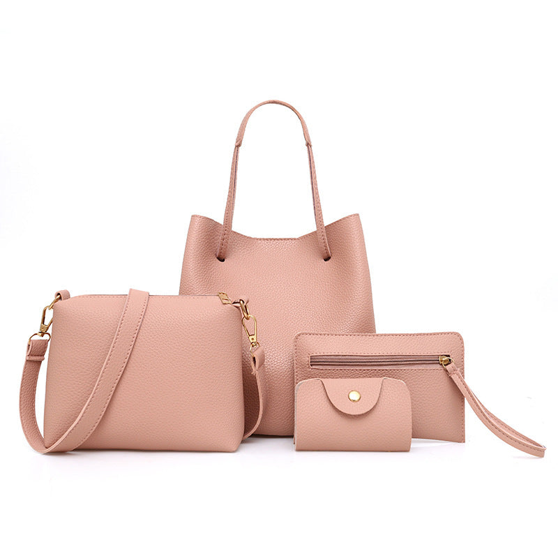 Fashion Solid Color Mother Bag Lychee Four-piece Handbags Simple Shoulder Bag