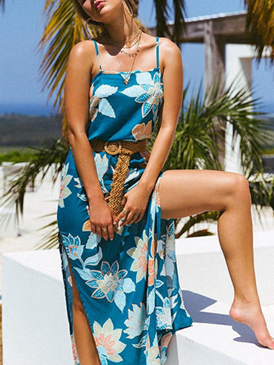 Summer Sling Print Large Swing Slit Dress