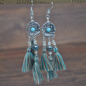 New Fabric Fringe Earrings Vintage Alloy Turquoise Earrings Long Ethnic Wind Wire Earrings