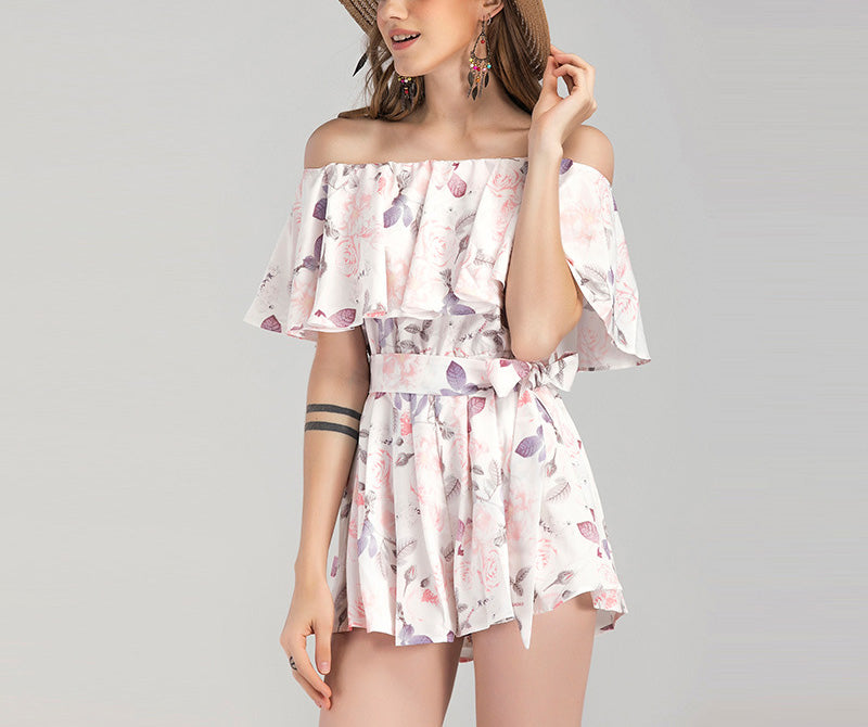 One-shoulder Ruffled Printed Jumpsuit