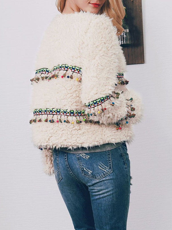 Fashion Ethnic Style Short Autumn And Winter Fringed Plush Coat