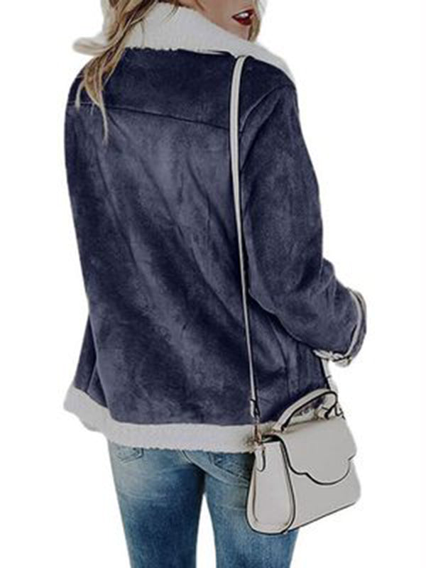 New Women Faux-leather Pocketed Aviator Jacket