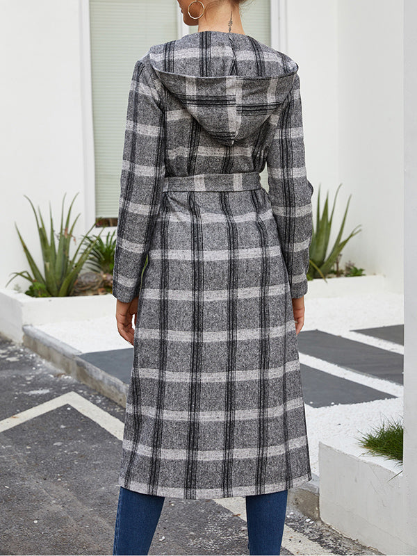 Autumn and Winter Woolen Plaid Long Coat