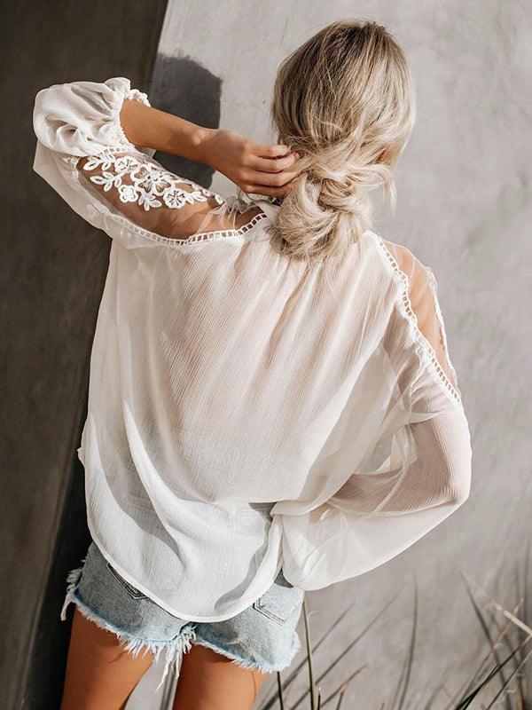 Sexy perspective V-neck lace shirt