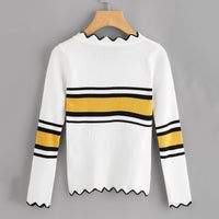 Long Sleeve Colorblock Sweater Women's Wavy Side Knit Sweater