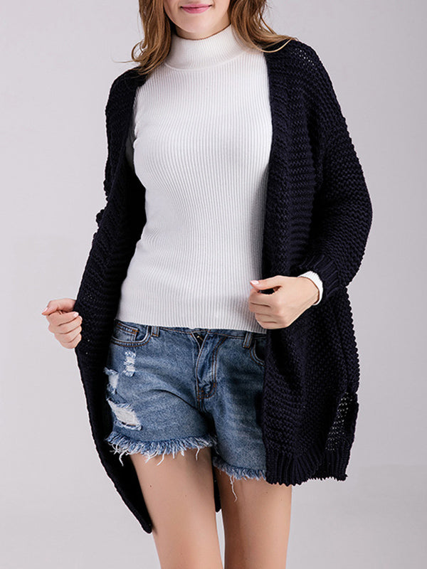 Long Sleeve Sweater Cardigan Solid Color Knit Sweater Loose Midi Jacket