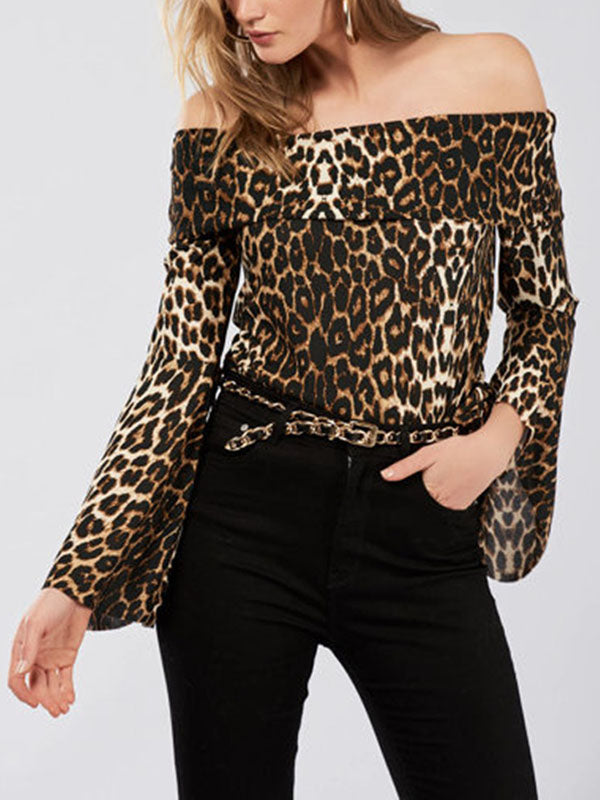 Fashion Leopard Print Collar Trumpet Sleeves Shirt Women