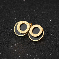 Roman Numerals Rose Gold Titanium Steel Earrings Fashion Black Round Earrings