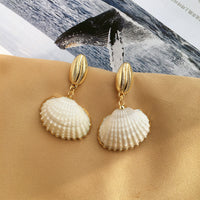 Natural Shell Earrings Pearl Bead Earrings