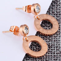 Titanium Steel Color Gold Plated Rose Gold Roman Numerals Hollow Round Single Diamond Stud Earrings