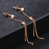 Simple Mini Five-pointed Star Stud Earrings Long Tassel Ear Line