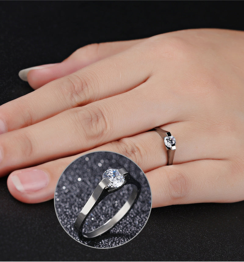 Stainless Steel Women's Ring Ring with Diamonds