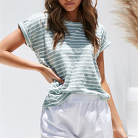 Striped Round Neck Short Sleeve Loose Cotton T-shirt